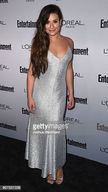 Actress Lea Michele arrives at Entertainment Weekly hosts 2016 Pre-Emmy Paty at Nightingale Plaza on September 16, 2016 in Los Angeles, California.