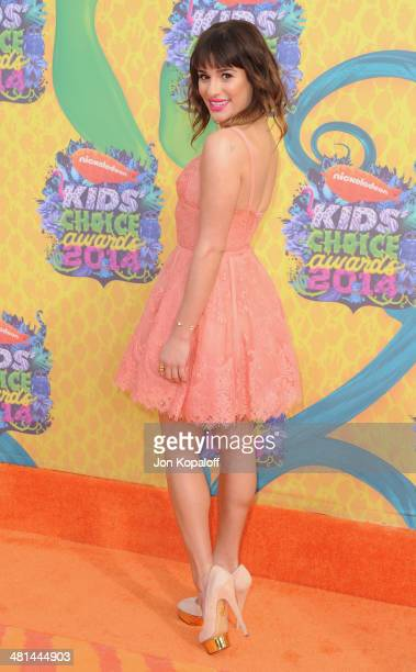 Actress Lea Michele arrives at Nickelodeon's 27th Annual Kids' Choice Awards at USC Galen Center on March 29 2014 in Los Angeles California