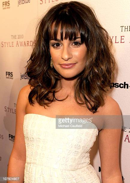 Actress Lea Michele arrives at the 2010 Hollywood Style Awards with The Palazzo Las Vegas Klipsch and FRS Healthy Energy at the Hammer Museum on...