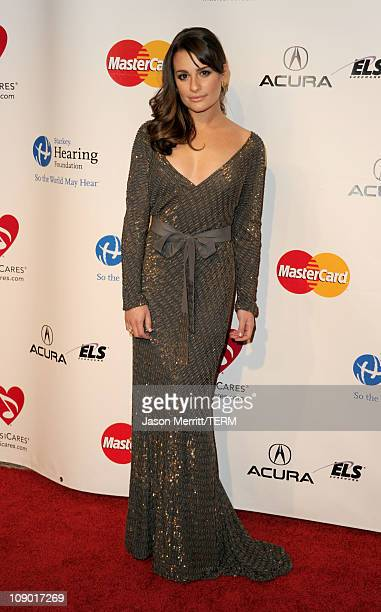 Actress Lea Michele arrives at the 2011 MusiCares Person of the Year Tribute to Barbra Streisand held at the Los Angeles Convention Center on...
