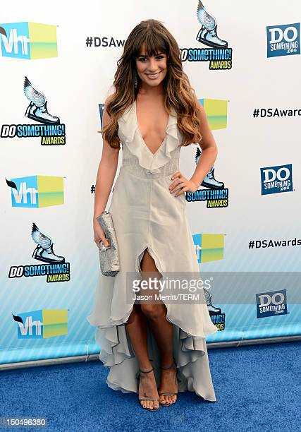 Actress Lea Michele arrives at the 2012 Do Something Awards at Barker Hangar on August 19 2012 in Santa Monica California