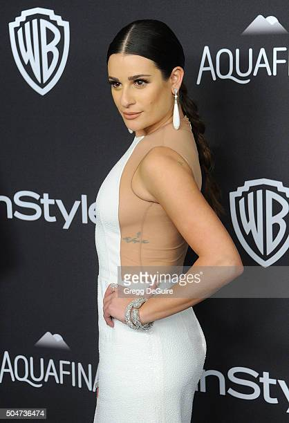 Actress Lea Michele arrives at the 2016 InStyle And Warner Bros 73rd Annual Golden Globe Awards PostParty at The Beverly Hilton Hotel on January 10...