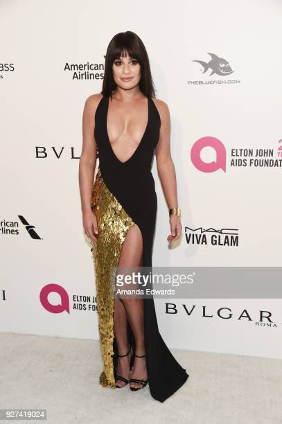 Actress Lea Michele arrives at the 26th Annual Elton John AIDS Foundation's Academy Awards Viewing Party on March 4 2018 in West Hollywood California