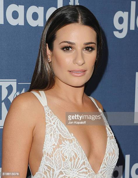 Actress Lea Michele arrives at the 27th Annual GLAAD Media Awards at The Beverly Hilton Hotel on April 2, 2016 in Beverly Hills, California.