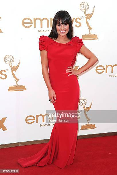 Actress Lea Michele arrives at the 63rd Annual Primetime Emmy Awards held at Nokia Theatre LA LIVE on September 18 2011 in Los Angeles California