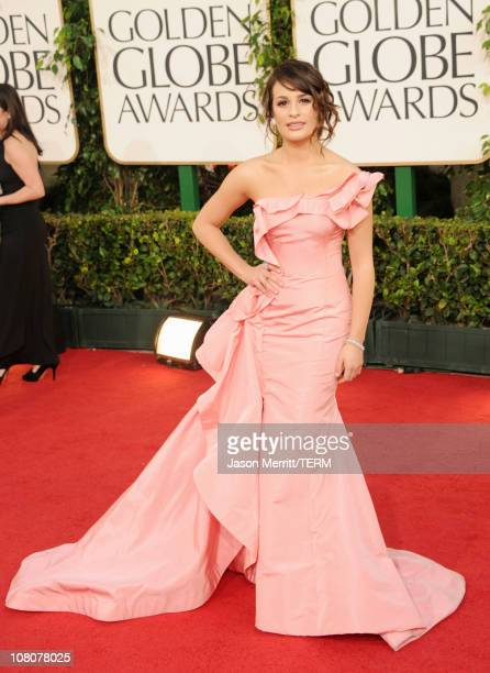 Actress Lea Michele arrives at the 68th Annual Golden Globe Awards held at The Beverly Hilton hotel on January 16 2011 in Beverly Hills California