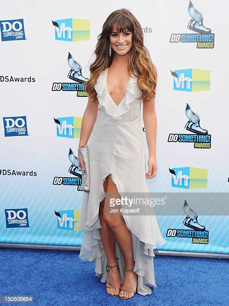 Actress Lea Michele arrives at the DoSomething.org And VH1's 2012 Do Something Awards at the Barker Hangar on August 19, 2012 in Santa Monica,...