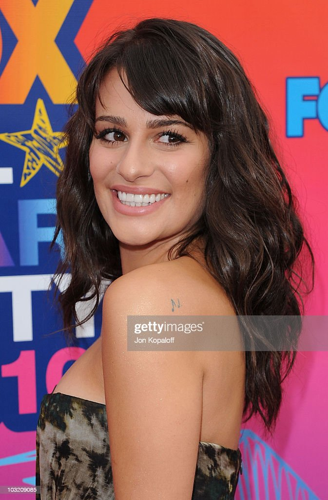 Actress Lea Michele arrives at the Fox All-Star Party at Pacific Park at the Santa Monica Pier on August 2, 2010 in Santa Monica, California.