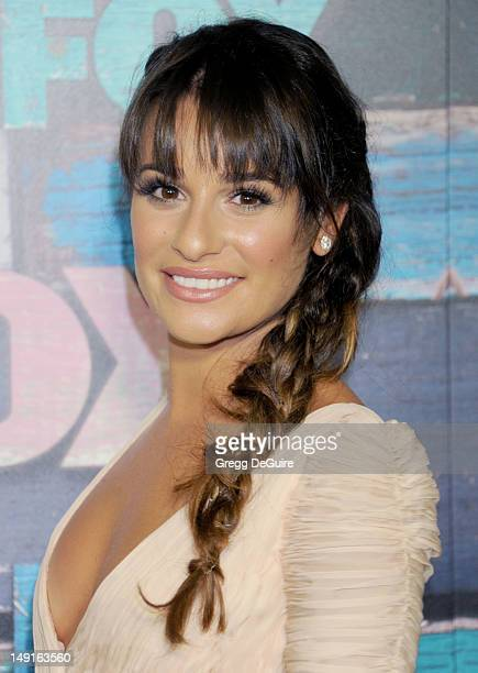 Actress Lea Michele arrives at the FOX AllStar Party on July 23 2012 in West Hollywood California