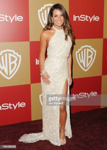 Actress Lea Michele arrives at the InStyle And Warner Bros Golden Globe Party at The Beverly Hilton Hotel on January 13 2013 in Beverly Hills...