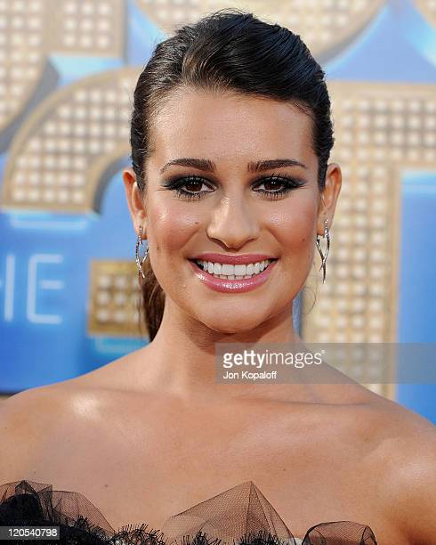 """Actress Lea Michele arrives at the Los Angeles Premiere """"GLEE: The 3D Concert Movie"""" at Regency Village Theatre on August 6, 2011 in Westwood,..."""