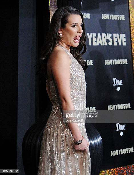 """Actress Lea Michele arrives at the Los Angeles Premiere """"New Year's Eve"""" at Grauman's Chinese Theatre on December 5, 2011 in Hollywood, California."""