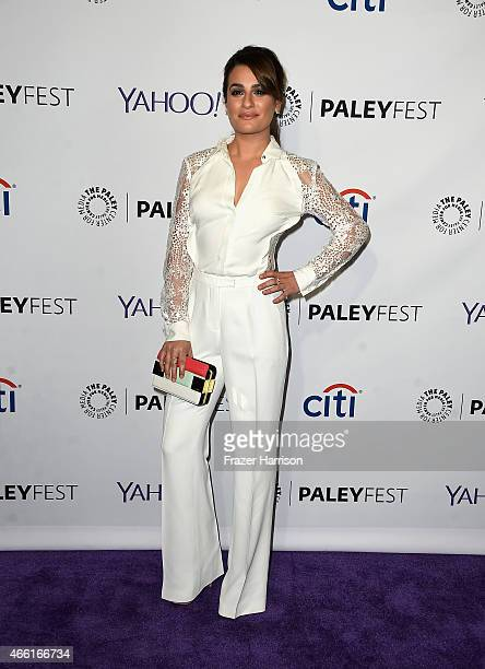Actress Lea Michele arrives at The Paley Center For Media's 32nd Annual PALEYFEST LA Glee at Dolby Theatre on March 13 2015 in Hollywood California