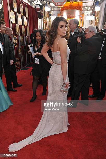 Actress Lea Michele arrives at the TNT/TBS broadcast of the 17th Annual Screen Actors Guild Awards held at The Shrine Auditorium on January 30, 2011...