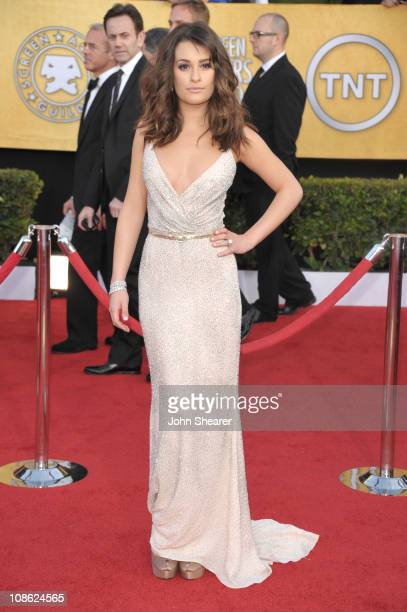 Actress Lea Michele arrives at the TNT/TBS broadcast of the 17th Annual Screen Actors Guild Awards held at The Shrine Auditorium on January 30 2011...
