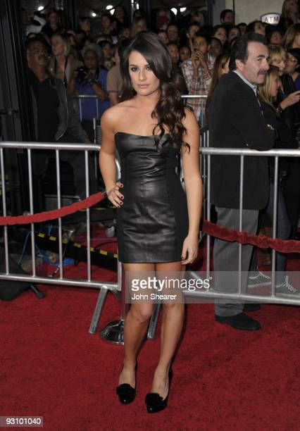 Actress Lea Michele arrives at 'The Twilight Saga New Moon' premiere held at the Mann Village Theatre on November 16 2009 in Westwood California