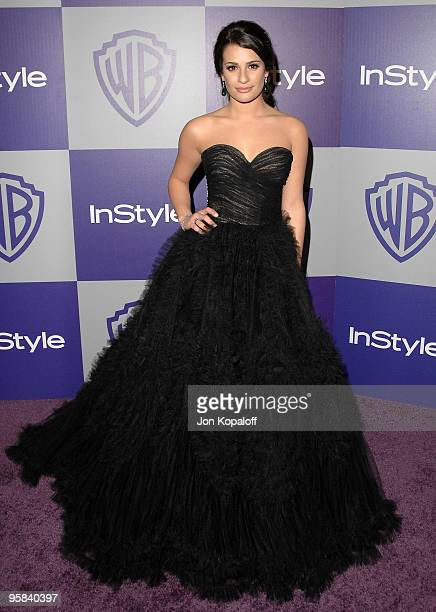 Actress Lea Michele arrives at the Warner Brothers/InStyle Golden Globes After Party at The Beverly Hilton Hotel on January 17 2010 in Beverly Hills...