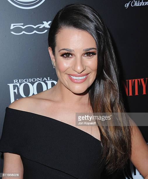Actress Lea Michele arrives at Vanity Fair And FIAT Toast To 'Young Hollywood' at Chateau Marmont on February 23 2016 in Los Angeles California