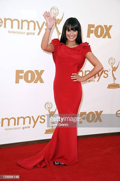 Actress Lea Michele arrives to the 63rd Primetime Emmy Awards at the Nokia Theatre LA Live on September 18 2011 in Los Angeles United States