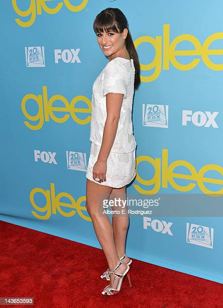 Actress Lea Michele arrives to The Academy of Television Arts Sciences' screening of Fox's Glee at Leonard Goldenson Theatre on May 1 2012 in North...