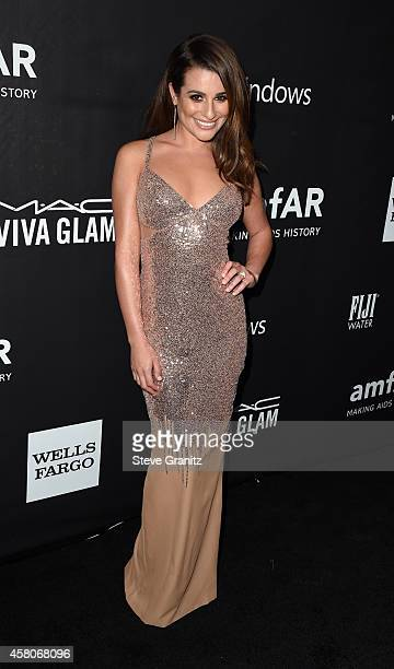 Actress Lea Michele attends amfAR LA Inspiration Gala honoring Tom Ford at Milk Studios on October 29 2014 in Hollywood California
