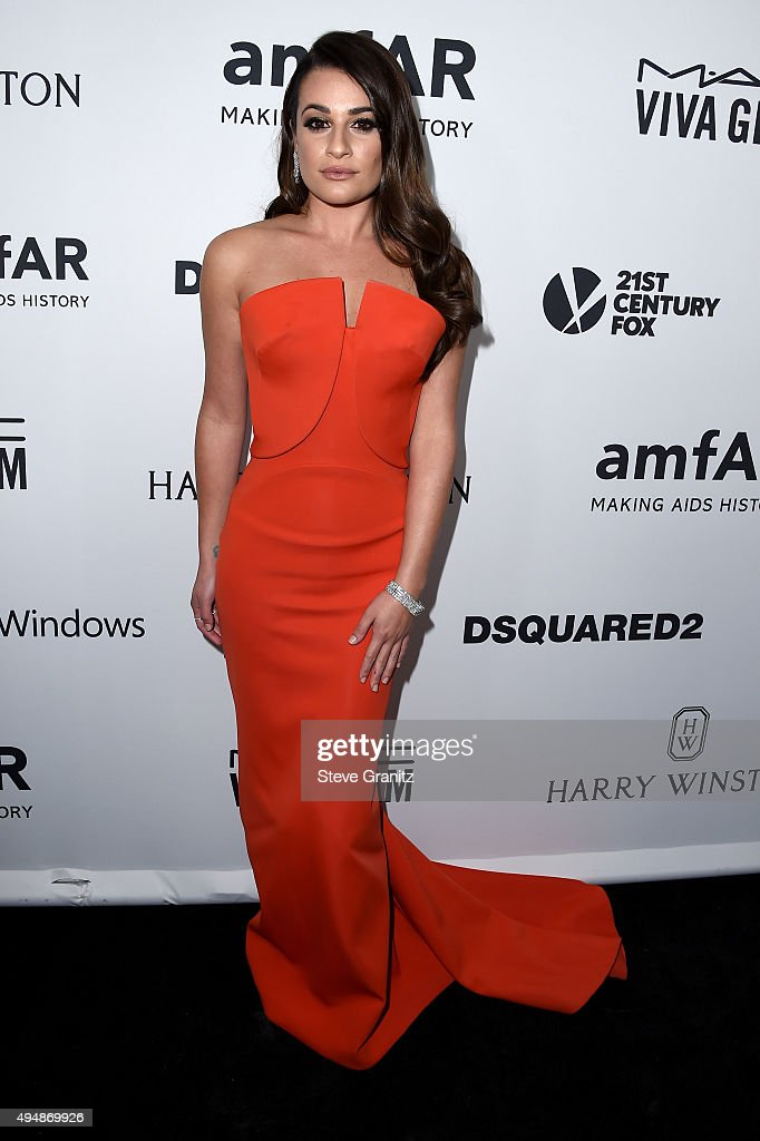 Actress Lea Michele attends amfAR's Inspiration Gala Los Angeles at Milk Studios on October 29, 2015 in Hollywood, California.