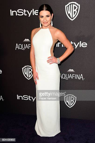 Actress Lea Michele attends InStyle and Warner Bros 73rd Annual Golden Globe Awards PostParty at The Beverly Hilton Hotel on January 10 2016 in...