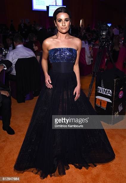 Actress Lea Michele attends the 24th Annual Elton John AIDS Foundation's Oscar Viewing Party at The City of West Hollywood Park on February 28, 2016...