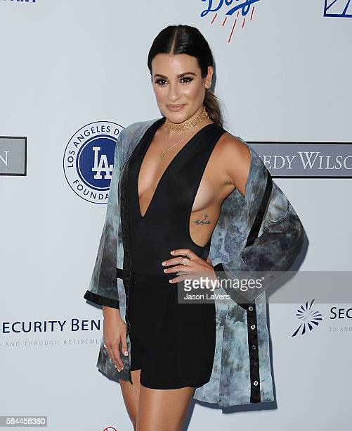 Actress Lea Michele attends the Los Angeles Dodgers Foundation Blue Diamond gala at Dodger Stadium on July 28 2016 in Los Angeles California
