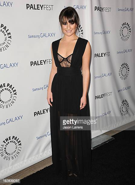 Actress Lea Michele attends the PaleyFest Icon Award presentation at The Paley Center for Media on February 27 2013 in Beverly Hills California