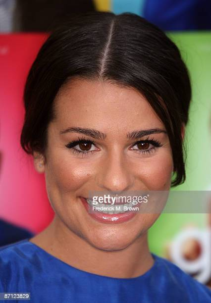"Actress Lea Michele attends the screening of ""Glee"" at the Santa Monica High School Amphitheater on May 11, 2009 in Santa Monica, California."
