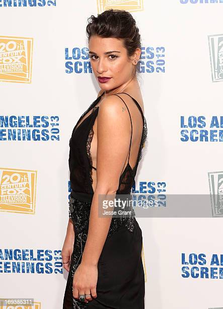 Actress Lea Michele attends Twentieth Century Fox Television Distribution's 2013 LA Screenings Lot Party at Twentieth Century Fox Studio Lot on May...