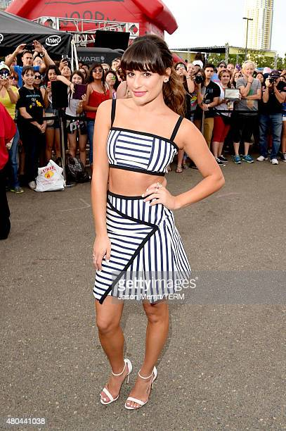 "Actress Lea Michele of the show ""Scream Queens"" visits the Scream Queens Mega Drop Ride during Comic-Con International 2015 at PETCO Park on July 11,..."