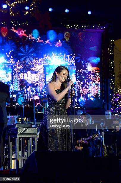 Actress Lea Michele performs at The Grove Christmas with Seth MacFarlane Presented by Citi at The Grove on November 13 2016 in Los Angeles California