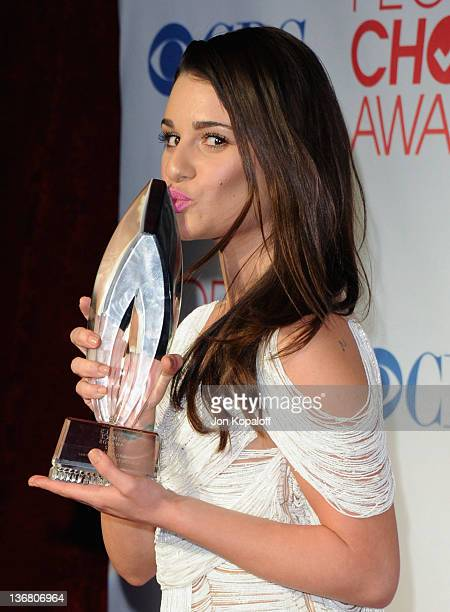 Actress Lea Michele poses in the press room at 2012 People's Choice Awards held at Nokia Theatre LA Live on January 11 2012 in Los Angeles California