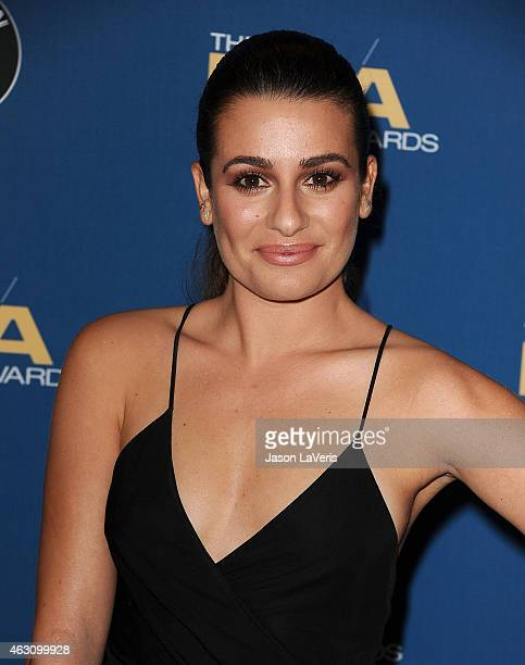 Actress Lea Michele poses in the press room at the 67th annual Directors Guild of America Awards at the Hyatt Regency Century Plaza on February 7...