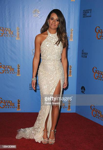 Actress Lea Michele poses in the press room at the 70th Annual Golden Globe Awards held at The Beverly Hilton Hotel on January 13 2013 in Beverly...