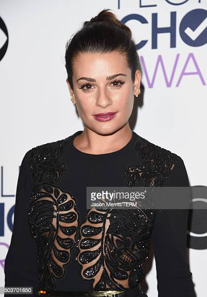 Actress Lea Michele poses in the press room during the People's Choice Awards 2016 at Microsoft Theater on January 6 2016 in Los Angeles California