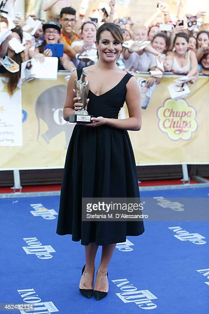 Actress Lea Michele poses with the Giffoni Award at Giffoni Film Festival on July 20 2014 in Giffoni Valle Piana Italy