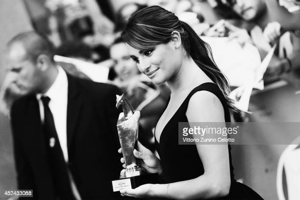 Actress Lea Michele poses with the Giffoni Award during the Giffoni Film Festival on July 20 2014 in Giffoni Valle Piana Italy