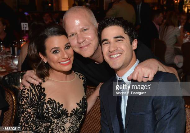 Actress Lea Michele producer Ryan Murphy and actor Darren Criss attend the Jonsson Cancer Center Foundation's 19th Annual 'A Taste For A Cure' at The...