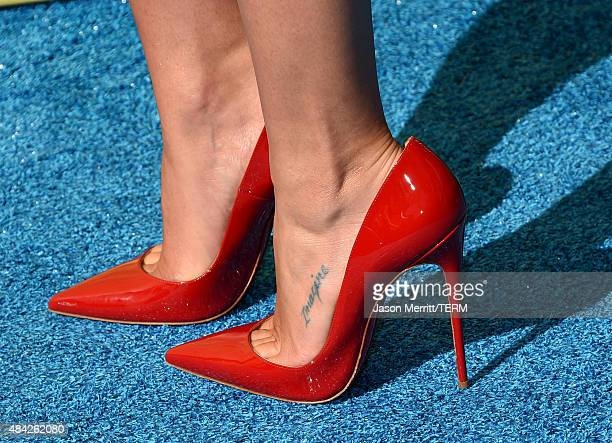 Actress Lea Michele shoe detail attends the Teen Choice Awards 2015 at the USC Galen Center on August 16 2015 in Los Angeles California