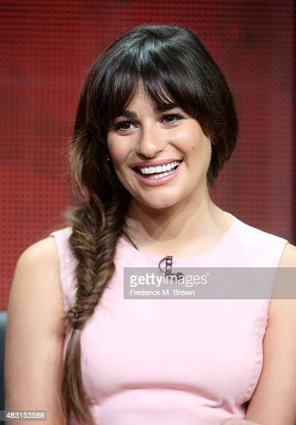 Actress Lea Michele speaks onstage during the 'Scream Queens' panel discussion at the FOX portion of the 2015 Summer TCA Tour at The Beverly Hilton...