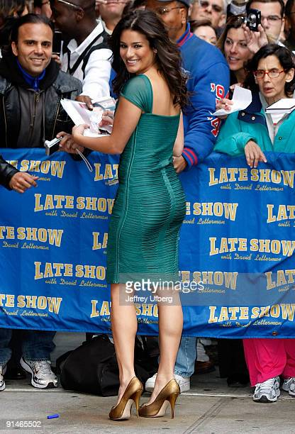 Actress Lea Michele visits Late Show with David Letterman at the Ed Sullivan Theater on October 5 2009 in New York City