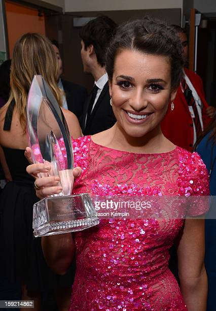 Actress Lea Michele walks backstage at the 39th Annual People's Choice Awards at Nokia Theatre LA Live on January 9 2013 in Los Angeles California