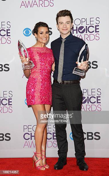 Actress Lea Michele winner of Favorite TV Comedy Actress and actor Chris Colfer winner of Favorite TV Comedy Actor pose in the press room at the 39th...