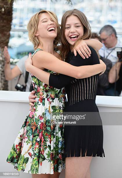 Actress Lea Seydoux and actress Adele Exarchopoulos attend the photocall for 'La Vie D'Adele' during the 66th Annual Cannes Film Festival at The...