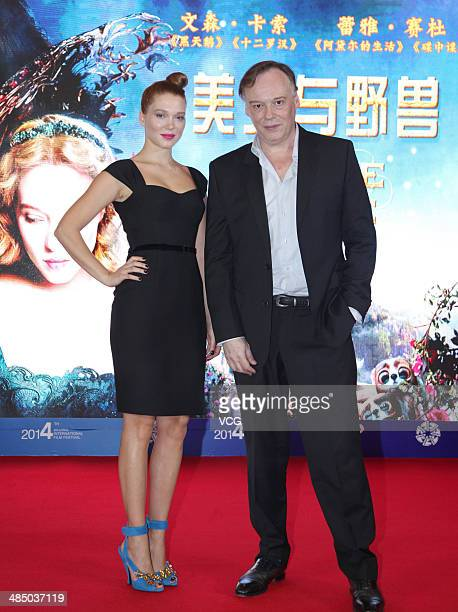 Actress Lea Seydoux and director Christophe Gans attend 'La belle et la bete' press conference during the 2014 Beijing International Film Festival at...
