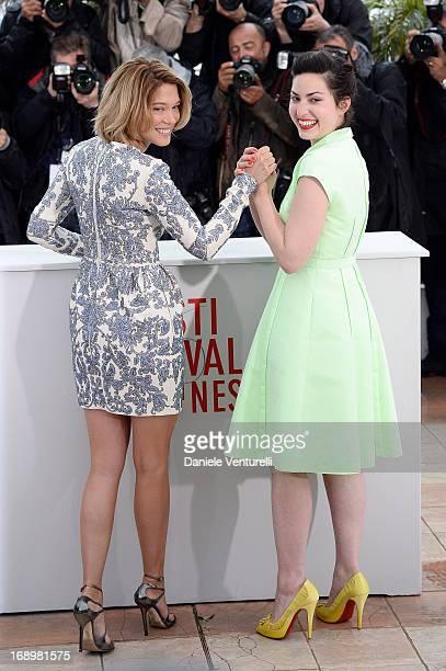 Actress Lea Seydoux and director Rebecca Zlotowski attend the photocall for 'Grand Central' during the 66th Annual Cannes Film Festival at Palais des...