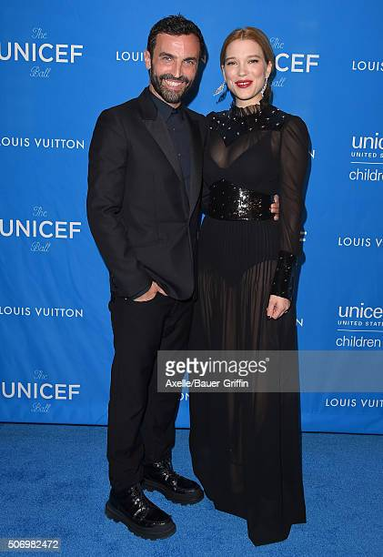 Actress Lea Seydoux and fashion designer Nicolas Ghesquiere arrive at the 6th Biennial UNICEF Ball at the Beverly Wilshire Four Seasons Hotel on...